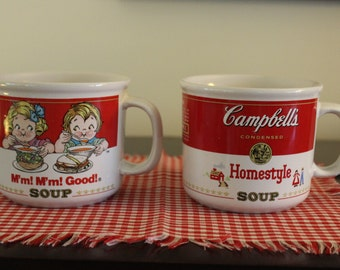 Vintage Campbell's Soup Mugs with Handles, Set of Two, 1991 Campbell's Soup Mugs