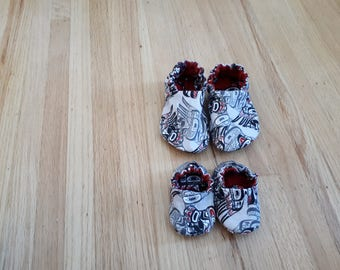 Cotton Moccasins in Childrens sizes in Native Print