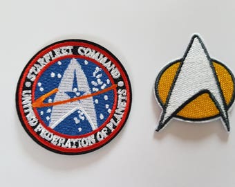 Star Trek Comms + Star Fleet Command Twin Pack Badge's Iron On Patch Sew on Transfer