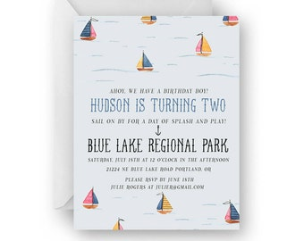 Sailboat Watercolor Birthday Invitation Set 10 PC//Sailboat Party Invites//Watercolor//Sailboats//Semi Custom//Printed Invitations