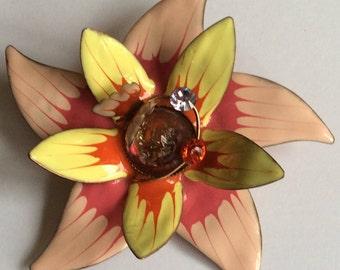 Flower and Butterfly Enamelled Copper Brooch
