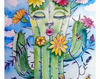 HIPPIE CACTUS. Pop surrealism, blade of limited edition signed and numbered, by Elsa Palmer