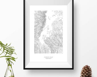 Jackson Hole, Wyoming | Topographic Print, Contour Map, Map Art | Home or Office Decor, Gift for Wilderness and Mountain Lover or Skiier