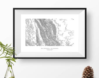 Bob Marshall Wilderness, Montana | Topographic Print, Contour Map, Map Art | Home or Office Decor, Gift for Wilderness Lover or Hiker