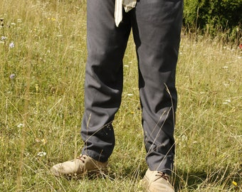Light Grey Cotton straight Viking inspired men's pants with belt loops Size M