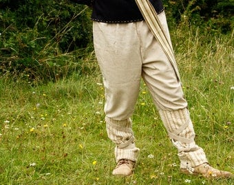 Viking inspired men's pants in sand colour with elastic waistband size M/L