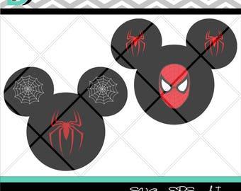 Mickey Mouse Super Hero, Spider-Man, Design and Study Silhouette, files fot Cricut