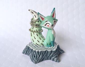 Fox Ring Holder, Mint Green
