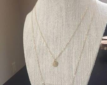 Layered moonstone Bar Necklace/Gemstone Bar Necklace/14k Gold Charm necklace/moonstone Bar Necklace/14k Gold necklace/