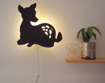 Fawn Wall Sconce made of wood. Baby night light. Child lamp