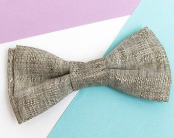 Natural Linen bow tie Boy's Bow tie Bowties for men Gift for groom Ring bearer outfit Wedding bow tie Rustic wedding Groomsmen bow ties