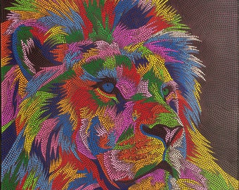 Dotty Lion, Indonesian Artwork, Mixed Media, Streatched Canvas Giclee of Traditional Oil on Canvas Balinese Painting; Ready to Hang!