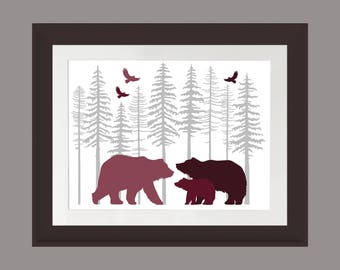 Burgundy Bear Wall Art, Nature Print, Bear Family Art Print, Rustic Cabin Art, Lodge Art Print, Bear Art Print, Fir Trees