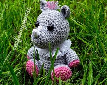 Crochet Pattern (PDF file) of the Little Rhino from Safari series (Amigurumi tutorial, crochet template)
