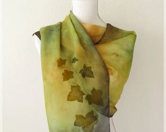 Hand painted ivy scarf, brown scarf, autumn shawl, ivy plant, synthetic chiffon, gift for Lady