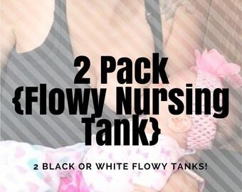 2 Pack of Flowy Nursing Tanks // Maternity // Breastfeeding // Tank Top // Nursing