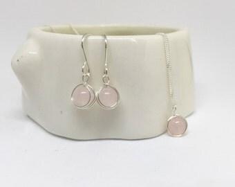 Rose quartz jewellery set, 925 sterling silver rose quartz jewelry set, silver jewellery set, rose quartz set, natural stone jewellery