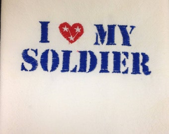 I Love My Soldier flour sack dish towel