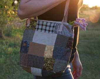 The Homesteader - Urban Prairie Patchwork - Eco friendly Tote - one of a kind purse / bag - handmade in Kansas