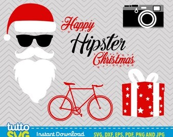 Hipster Christmas Svg files, Silhouette Studio, Cricut, Cameo, Embroidery, Screen Printing TT-33