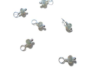 10PC.  Space Gray Sparkle AB Austrian Crystal Bead Dangle/Delicate Handmade Crystal Bead/Bead Charm with your Choice of Accent Finish