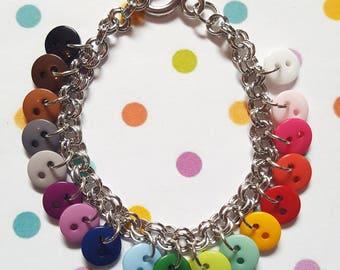 Buttons charm bracelet, Button bracelet, Charm bracelet, Button jewellery, Buttons, Button lovers, Rainbow, Quirky jewellery