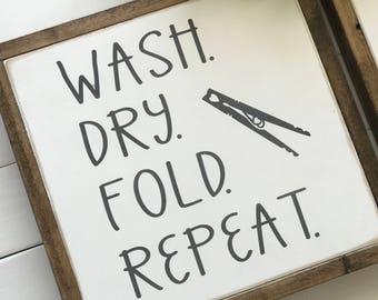 Laundry Sign   Laundry Room Sign   Farmhouse Decor   Wash Dry Sign   Farmhouse Sign