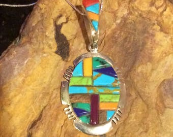 Native American Style Navajo Multi-Gemstone Sterling Silver Cobblstone Inlay Turquoise, Spiny Oyster, Lapis, Amethyst, Coral amd more