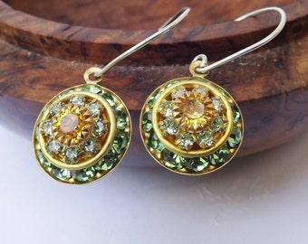 Crystal earrings, green orange earrings, vintage earrings, vintage crystal, 1940s earrings, sparkly crystal, sterling sterling silver,
