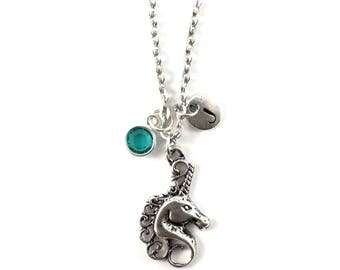 UNICORN charm necklace, unicorn jewelry, personalized necklace, initial necklace, birthstone jewelry, initial jewelry, personalized gift