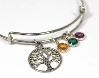 TREE OF LIFE charm bangle, tree of life charm, personalized bangle, initial bangle, initial hand stamped, birthstone bracelet, personalized
