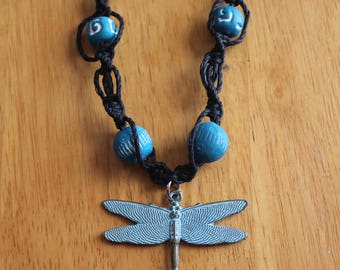 Black Hemp Necklace with Blue Dragonfly Pendant - Spiral Macrame Necklace - Comfortable and Causal Jewelry for Everyone - Great Gift Idea