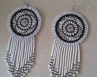 African Maasai Beaded Earrings | White Zulu Beaded Earrings | Dangle Earrings | Tribal Earrings | Elegant Earrings | Ethnic | Gift For Her