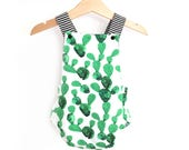 Romper printed cactus, criss-cross back