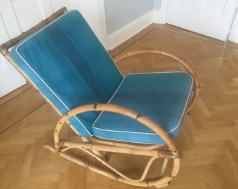 Mid Century Bamboo Rocking Chair Albini Style Original Cushions