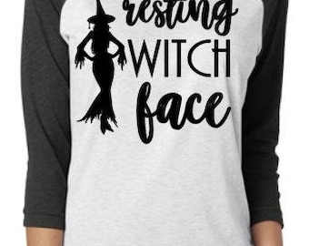 Resting Witch Face Halloween Baseball Tee Raglan
