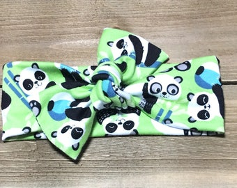 Panda Headband- Baby Headwrap; Baby Head Wraps; Tie Knot Headbands; Baby Headbands; Girls Headbands; Newborn Headband; Jersey Knit Headwrap
