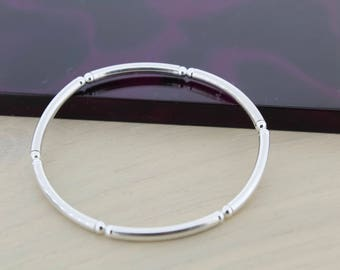 Solid Silver Bangle/Plain bead and noodle bracelet/Bangle bracelet/Jewellery/Jewelry/Silver Bracelet/Silver Layering Bracelet/Minimalist