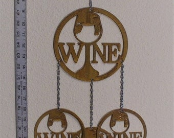 Wine glass wind chime