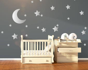 Silver Metallic Moon & Stars Nursery Wall Stickers