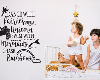 Fairies, Unicorns Nursery Wall Sticker Quote