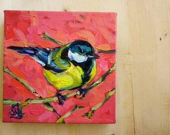 Big European Chickadee 1. Original Oil Painting. 6 x 6 inch on canvas