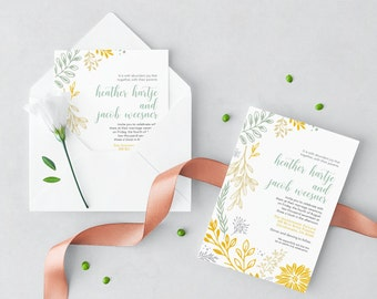 Wedding Invitation + Envelope with RSVP & Envelope