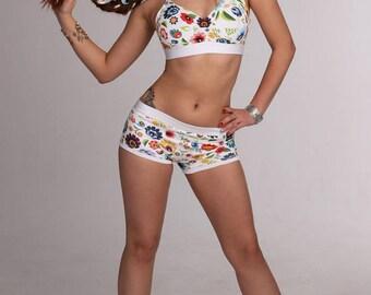 Women's Sports Bra - Bra / Folk White / Top w/Pads / Hot Yoga / Pole Dance / Twerk / Fitness / Dance / Gym / Sportswear /Activewear