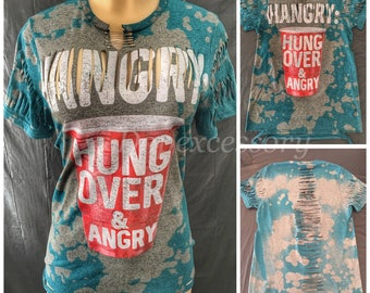 Hangry | Bleached | Distressed |  Reworked | Shredded | Pins | Tee Shirt