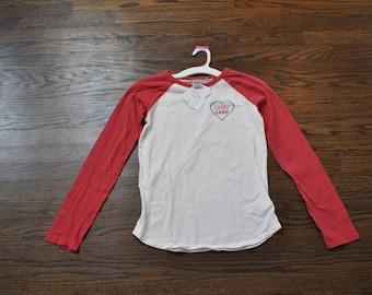 Girls Thrifted XL Shirt, Girls Red Candy Land Shirt, Long-Sleeved XL Girls Shirt 14-16, Red White Candy Land Shirt, Thrift Store Finds, Gift