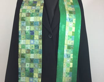 Clergy Stole, Green Squares Stole