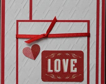 Hand Made, Card, Valentine's, Greeting, Embossed, Stickers, Red, White, Layers, Heart, Ribbon, Love