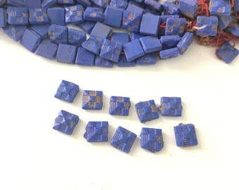 Antique Victorian Blue Nail Head Mourning Beads // Mourning Beads // Blue Mourning Beads (40)