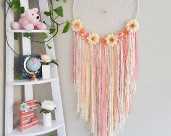 Boho wall hanging, big white flower dreamcatcher, large baby shower nursery dream catcher, giant dreamcatcher, dreamcatcher, dream catcher